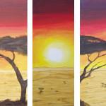 Schirmakazie in Afrika - Acryl - 3-teilig